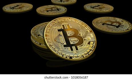 Bitcoin coins - golden Bitcoin coins on black mirror surface - 3d render