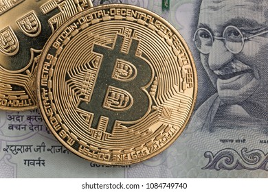 Bitcoin coins with indiam rupee bill