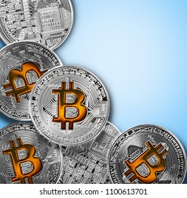 bitcoin coins isolated on blue background. Bitcoin is the most popular cryptocurrency in the world