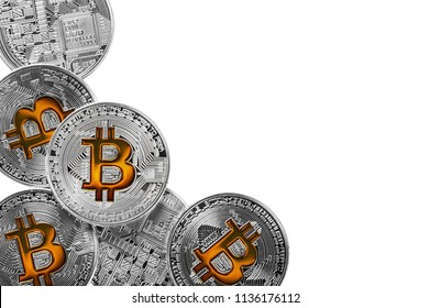 bitcoin coins isolated on a white background. Bitcoin is the most popular cryptocurrency in the world