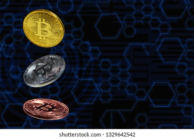 Bitcoin coins lavitate in mid air with blue circuit diagram as background