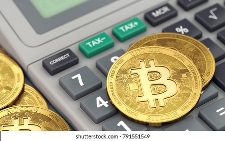 Bitcoin coins laying on calculator keyboard. Tax preparation concept. 3D rendering