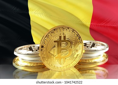 Bitcoin coins on Belgium's Flag, Cryptocurrency, Digital money concept photo