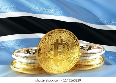 Bitcoin coins on Botswana Flag, Cryptocurrency, Digital money concept photo