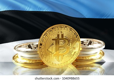 Bitcoin coins on Estonia's Flag, Cryptocurrency concept photo