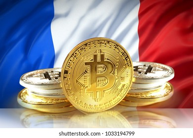 Bitcoin coins on France's flag, Cryptocurrency concept photo