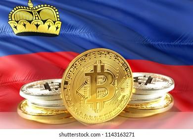 Bitcoin coins on Liechtenstein Flag, Cryptocurrency, Digital money concept photo