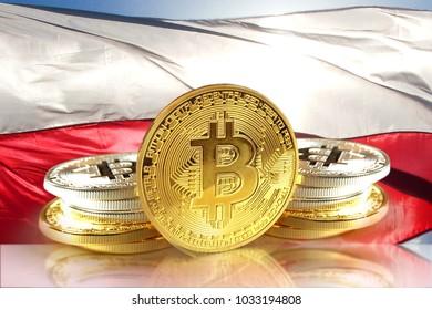 Bitcoin coins on Poland's flag, Cryptocurrency concept photo