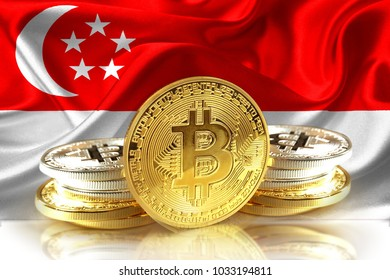 Bitcoin coins on Singapore's flag, Cryptocurrency concept photo