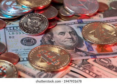 Bitcoin Coins on top of US Dollar Banknotes and Dollar coins in the background. Fiat currency and Digital Blockchain Money. BTC and USD