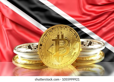 Bitcoin coins on Trinidad and Tobago's Flag, Cryptocurrency, Digital money concept photo