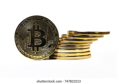 bitcoin coins on a white background