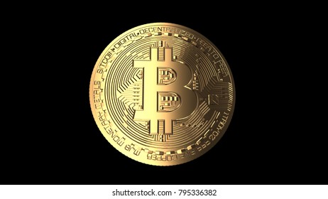 Bitcoin - computer generated image of a golden coin - 3D rendering