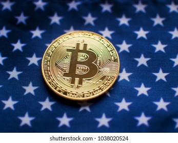 Bitcoin Concept Image on Stars and Stripes