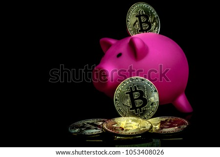A bitcoin concept with a piggy bank to represent the lack of a central bank to control the currency