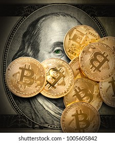 Bitcoin. Concept production of crypto currency, mining cryptography.
