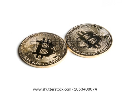A bitcoin concept tokens isolated on a white background
