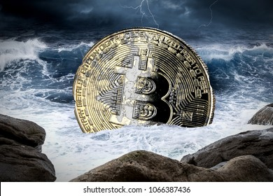 bitcoin crisis crypto coin currency finance market crash concept sinking in ocean thunderstorm background