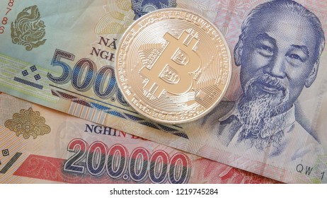 Bitcoin crypto currency coin  with vietnamese dong