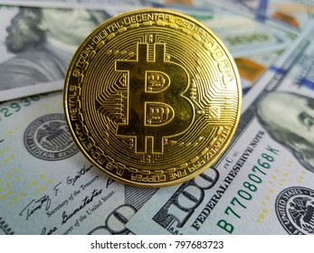 Bitcoin, crypto currency, electronic money and the dollar. world economy.