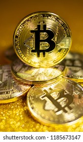 Bitcoin. Crypto currency Gold Bitcoin, BTC, Bit Coin. Macro shot of Bitcoin coins.