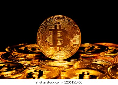 Bitcoin. Crypto currency Gold Bitcoin, BTC, Bit Coin.Macro shot of Gold Bitcoin coins. Cryptocurrency trading concept.