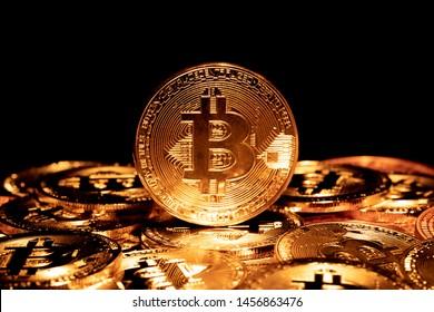 Bitcoin. Crypto currency Gold Bitcoin, BTC, Bit Coin.Macro shot of Gold Bitcoin coins. Crypto currency trading concept.