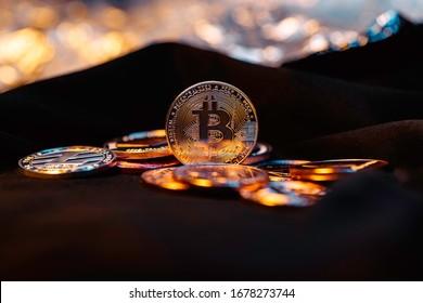 Bitcoin. Crypto currency Gold Bitcoin, BTC, Bit Coin. Gold shades of light