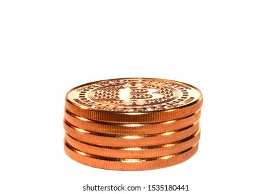 Bitcoin Crypto Currency, internet payments concepts, symbolized by copper rounds