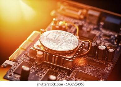 Bitcoin crypto currency mining concept or Facebook Libra credit coin depiction