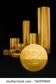 Bitcoin crypto currency stack, heap of golden coins as financial investment, 3D illustration