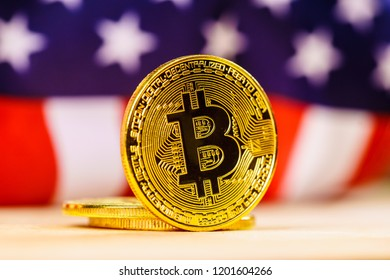 Bitcoin as crypto currency, virtual internet coin. Online banking and shopping. Digital trades, electronic finances.