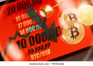 bitcoin cryptocurrency chart on tablet pc with arrow pointing down, recession; sharp falling stock market price (from $20000 to $10000 or less); concept of economic (financial, speculative) bubble.