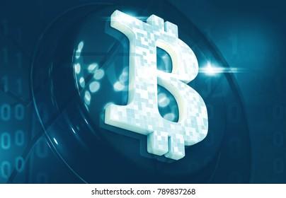 Bitcoin cryptocurrency. Closeup symbol. Internet money background. 3d illustration