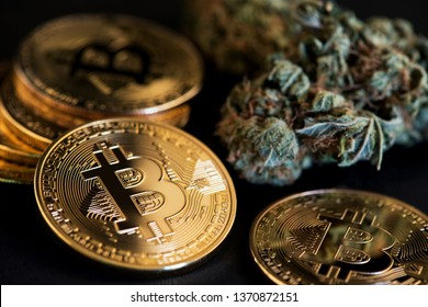 Bitcoin Cryptocurrency coins and Medical Marijuana. Cannabis Bussines concept.