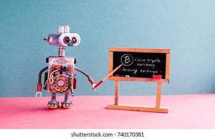 Bitcoin cryptocurrency digital money concept. Robot professor explains electronic mining cash financial system. Classroom interior with handwritten quote chalkboard. Blue pink colorful background.