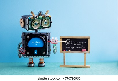 Bitcoin cryptocurrency digital money concept. Robot professor explains electronic mining cash financial system. Classroom interior with handwritten quote chalkboard. Green blue colorful background.