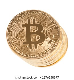 Bitcoin cryptocurrency  isolated over white background