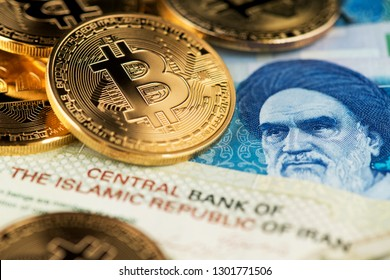 Bitcoin Cryptocurrency on Iranian banknotes close up image. Cryptocurrency Bitcoin with Iranian Rial money. Iran Bitcoin Rial Cryptocurrency Blockchain BTC