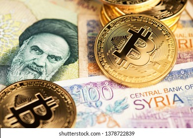 Bitcoin Cryptocurrency on Iranian and Syrian banknotes. Cryptocurrency Bitcoin with Iranian Rial and Syrian Pounds currency. Iran Syria Bitcoin Rial Pounds Money Cryptocurrency Blockchain BTC