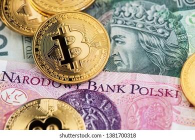 Bitcoin Cryptocurrency on Poland Zloty banknotes. Cryptocurrency Bitcoin with Polish Zloty currency. Poland Bitcoin Zloty Money Cryptocurrency Blockchain BTC