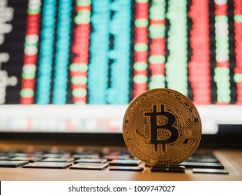 bitcoin cryptocurrency and stock market business concept