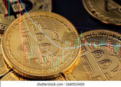 Bitcoin Cryptocurrency Stock Market Concept. Financial Growth Chart. BTC Cryptocurrency Bitcoin USD to BTC