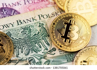 Bitcoin Cryptocurrency virtual money and Poland Zloty Currency. Cryptocurrency Bitcoin coins on Polish Zloty money. Poland Bitcoin Zloty Money Cryptocurrency Blockchain BTC