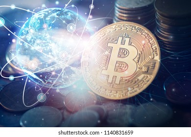 Bitcoin cryptocurrency,golden Bitcoins. New virtual money.