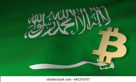 Bitcoin Currency Symbol on Flag of Saudi Arabia
