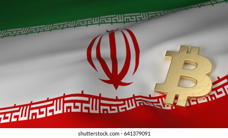 Bitcoin Currency Symbol on Flag of Iran