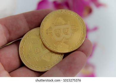 Bitcoin, Digital Cryptocurrency - Golden coin with bitcoin symbol