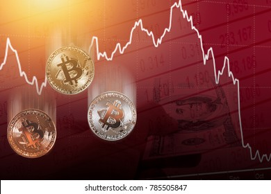 bitcoin digital cryptocurrency value price fall drop concept