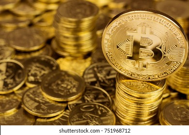 Bitcoin. Digital Currency. Column of coins. Close up.